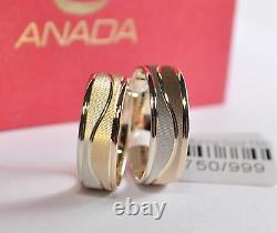 1 Pair Wedding Rings Gold 333 Bicolour Width 6,0mm Cambered