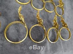 10 Antique French Rings Bronze Curtains Floral Decor 19th