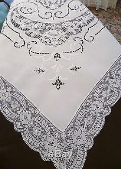 108 X 74 Antique Italian Lace Cutwork Hand Embroidery Tablecloth Irish Linen