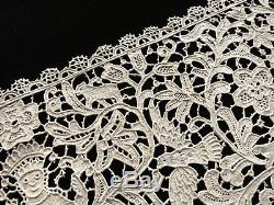 10x108 Antique FIGURAL Handmade POINT VENISE LACE Runner Birds Creatures Foliage