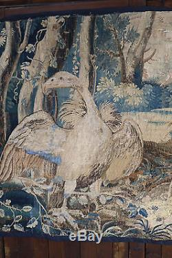 17th Century French Aubusson Verdure Tapestry Hanging Large Birds
