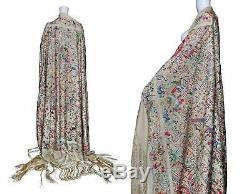 1900s Super antique Hand Embroidered Piano Shawl with hundreds of Chinese motifs