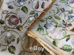 1930s silk embroidery birds/insects/fruits Arts & Crafts