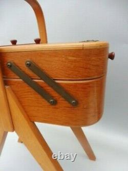 1950s MORCO CANTILEVER SEWING BOX WITH CONTENTS