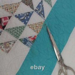 1950s Turquoise! Vintage Ocean Waves QUILT 95x80 Beautiful Color & Fabrics