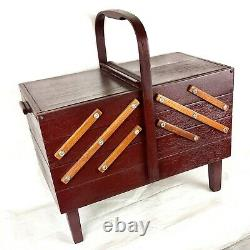 1960s Singer Accordian Sewing Chest, Restored Wood Vintage Notions Alterations
