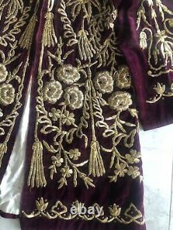 19th ANTIQUE OTTOMAN TURKISH GOLD METALLIC HAND EMBROIDERED LONG JACKET