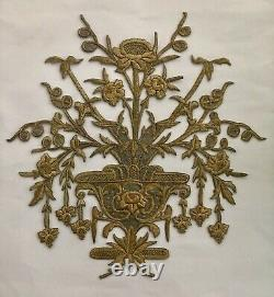 19th C HUGE ANTIQUE OTTOMAN TURKISH GOLD METALLIC HAND EMBROIDERY F APPLIQUE