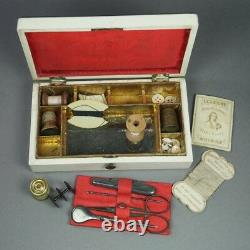 19th Century French Fitted Sewing Etui With Contents White lacquer Circa 1840