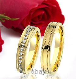 2 SILBER Partner Ring Wedding Rings Bands Free Engraving GOLD plated T341