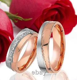2 SILBER Partner Ring Wedding Rings Bands Free Engraving ROSE GOLD Plated T319