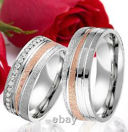 2 SILBER Partner Ring Wedding Rings Bands Free Engraving ROSE GOLD Plated T332