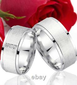 2 SILVER Partner Ring Wedding Rings Bands, Free Engraving, 9 mm wide, T301-3