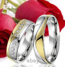 2 SILVER Partner Ring Wedding Rings Bands Free Engraving, GOLD plated, T302
