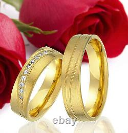 2 SILVER Partner Ring Wedding Rings Bands Free Engraving GOLD plated T315