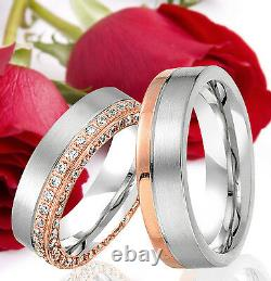 2 SILVER Partner Ring Wedding Rings Bands Free Engraving ROSE GOLD Plated T357