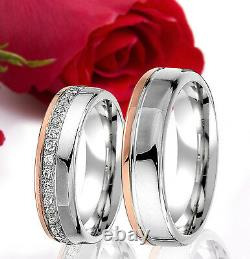 2 SILVER Partner Wedding Rings Bands Free Engraving, ROSE GOLD Plated, T343