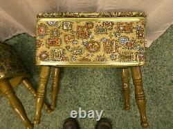 3076M Vtg PAIR 2 Matching BURLINGTON Table Stools Benches Sewing Boxes Ottomans