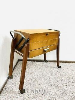 50s Sewing Table Sewing Cart Original Mid Century Knitting Vintage Buttons 60s