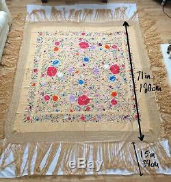 71 Inch Silk Embroidered Shawl 1920s Antique Canton Piano Shawl Floral Manton