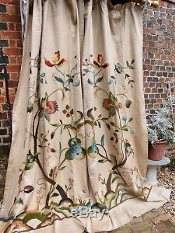 7ft9x8ft 19c ANTIQUE ENGLISH CREWELWORK SQUIRREL STAG ROCKY HILLOCKS LANDSCAPE