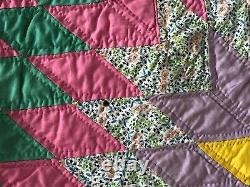 80 x 93 Antique handmade quilt full / queen Texas Lone Star vintage yellow pink