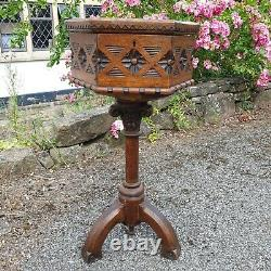 A Beautiful Ornate Ecclesiastical Style Antique Victorian Sewing Table/Stand/Box