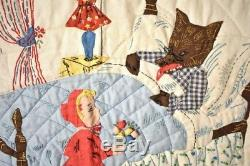 AMAZING Vintage 30's Little Red Riding Hood Applique Crib Quilt BEST OF KIND
