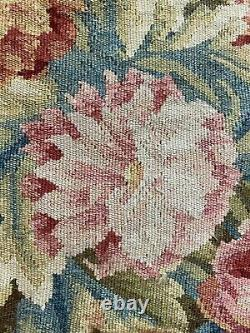 ANTIQUE 19th C AUBUSSON FRENCH HAND WOVEN TAPESTRY CUSHIONS 20X 20 With Fringe