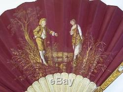 ANTIQUE FRENCH 14K GOLD CANNETILLE & ENAMEL HAND PAINTED SILK HAND FAN c1820
