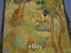 ANTIQUE HAND WOVEN TAPESTRY w PARTRIDGES QUAILS IN FOREST IN TREE BY FLOWERS 66