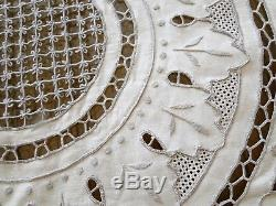 ANTIQUE LINENS-CIRCA 1900s, ORNATE 136 TABLECLOTH With12 NAPKINS