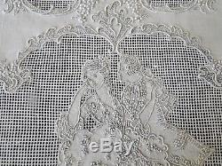 ANTIQUE LINENS-SUPERB APPENZELL TABLE RUNNER, PLACEMATS WithCOURTING COUPLES