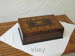 ANTIQUE SEWING BOX IN MADEIRA WORK, 19TH C, Needlework, inlaid, collectors