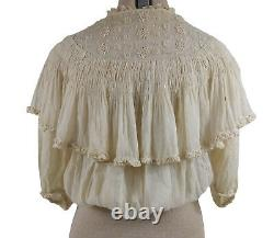 AO AFFA Pioneer Frontier Wild West 1800s Silk Lace 19th Century Womens Blouse