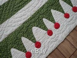 Amazing 19th c Green & Red Antique Basket Quilt With BEST BORDER Ever! 84x84