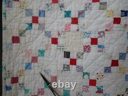 Amazing Vintage TINIER than Postage Stamp Pieces Feedsack QUILT 79x79