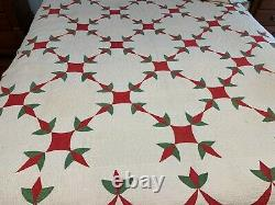 Antique 1860 Red Green TURKEY TRACKS QUILT SWAG BORDER HAND Double Stitch SPI 10