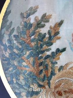 Antique 18th 19 c. Colifichet Embroidery of a Mourning Scene