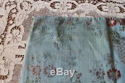 Antique 18thC French Sky Blue Floral & Lace Silk Brocade Fabric c177034X18.5