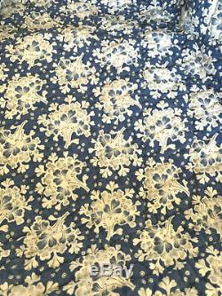 Antique 19th c. French Quilt Two-Sided Floral + Indigo 1800's Provencal Boutis