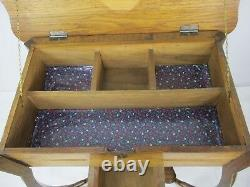 Antique Art Deco Sewing Quilting Box table Cabinet Two Tier Extremely Rare WOW