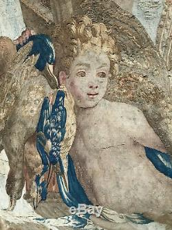Antique Aubusson Wall Tapestry Cherubs Game Birds 17th Century Flemish Hanging