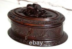 Antique Black Forest Hand Carved Oak Jewellery Box FREE Shipping- PL-4306 R