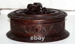 Antique Black Forest Hand Carved Oak Jewellery Box FREE Shipping PL4306