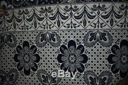 Antique Blue Jacquard Coverlet, Sailboat, Houses, Dated 1839, Gilmore, #18516