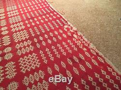 Antique C1910 Welsh Wool Tapestry Blanket Throw Quilt Bedspread Vintage Rare