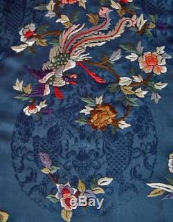 Antique Chinese Qing Dynasty Embroidered & Woven Satin Silk Lady Robe 19th c