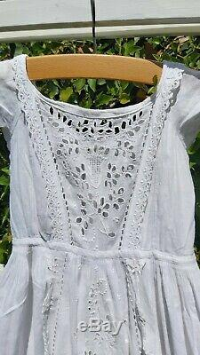 Antique Christening Gown Dress Cotton Hand Embroidery Exceptional Quality Doll