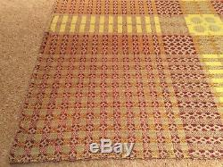 Antique Circa 1920 Welsh Wool Tapestry Blanket Throw Quilt Bedspread Vintage